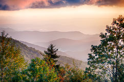 The simple layers of the Smokies at sunset - Smoky Mountain Nat. Royalty Free Stock Image