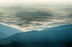 The simple layers of the Smokies at sunset - Smoky Mountain Nat. Stock Photo