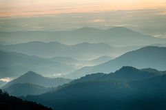 The simple layers of the Smokies at sunset - Smoky Mountain Nat. Royalty Free Stock Photography