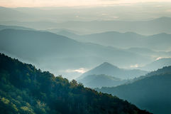 The simple layers of the Smokies at sunset - Smoky Mountain Nat. Stock Image