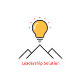 Simple leadership solution logo. Concept of lamp, brainstorm, tourism, mission, strategy, ray, victory, briefing. flat style trend modern leadership logo Royalty Free Stock Image