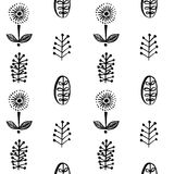 Simple leaves and flowers in scandinavial style seamless pattern Royalty Free Stock Photo