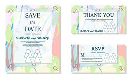 Simple lesbian couple in white wedding dresses. Same-sex family. Gay marriage. Two brides white slhouettes. For wedding. Invitation, Save the Date cards etc royalty free illustration