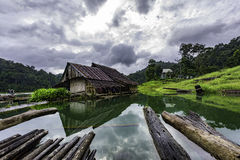 Simple life. Deeply forest has a old house for rest, it's so simple life Stock Photo