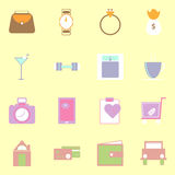 Simple lifestyle color icons on yellow background Stock Image