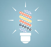Simple light bulb conceptual icon with colorful gears inside. Ve Royalty Free Stock Images