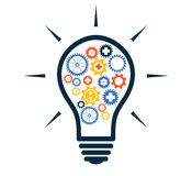 Simple light bulb conceptual icon with colorful gears inside. Ve Royalty Free Stock Photography