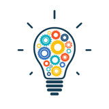 Simple light bulb conceptual icon with colorful. Gears inside. Vector illustration vector illustration