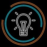 Simple Light Bulb Thin Line Vector Icon royalty free illustration