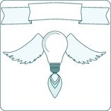 Simple Light Bulb with Wings, Flame and Banner . Royalty Free Stock Photo