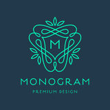 Simple line art monogram logo design Stock Photography