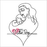 Simple line art of a mother holding her baby Stock Image
