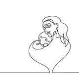 Simple line art of a mother holding her baby Royalty Free Stock Images