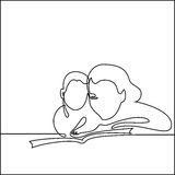 Simple line art of a mother holding her baby Stock Images