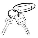 Simple line art sketch of house / building key pad lock key and oval tag. Vector simple line art sketch of house / building key pad lock key and oval tag royalty free illustration