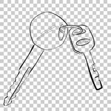 Simple line art sketch of motorcycle and pad lock key. Vector simple line art sketch of motorcycle and pad lock key vector illustration