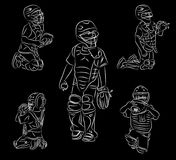 Youth league baseball line art catcher positions. Simple line art of youth baseball catching positions vector illustration doodle or sketch on a black background Royalty Free Stock Photography