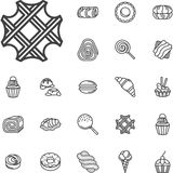 Simple line confectionery icons Royalty Free Stock Photos