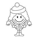Simple line drawing. Cute little girl in winter clothes. Stock Photos
