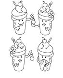 Simple line drawing. Fabulous Ice Cream with cherries. Stock Photo