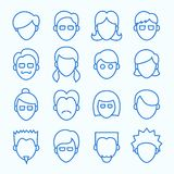 Simple Line Faces Icons Set. Clean Simple Line Faces. Thin Icons Set included 16 items Royalty Free Stock Image