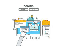 Simple line flat design of coding, modern  illustration Royalty Free Stock Image