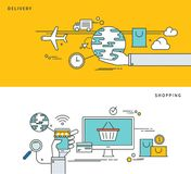 Simple line flat design of delivery & shopping, modern vector illustration. Royalty Free Stock Photos