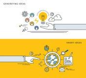 Simple line flat design of generate ideas & smart idea, modern vector illustration. Royalty Free Stock Image