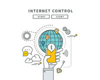 Simple line flat design of internet control, modern  illustration Stock Image