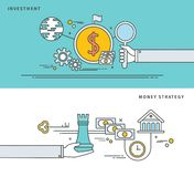Simple line flat design of investment & money strategy, modern vector illustration. Stock Photos