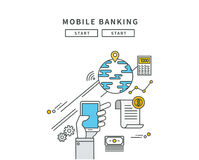 Simple line flat design of mobile banking, modern  illustration. ! Royalty Free Stock Photos