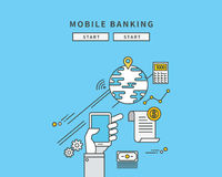 Simple line flat design of mobile banking, modern  illustration. ! Royalty Free Stock Photography