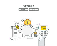 Simple line flat design of savings, modern  illustration Royalty Free Stock Photos