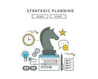 Simple line flat design of strategic planning, modern  illustration Royalty Free Stock Photo