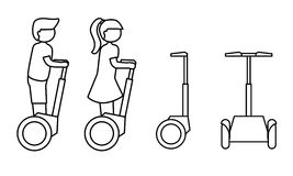 Simple line icon of modern transport gadget. Stick figure people on segway. Flat design Royalty Free Stock Images