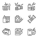Simple line icons for baby food. Set of black simple line style icons for baby nutrition. Milk powder, fruit and vegetable puree, formula. Elements of web design Stock Photos