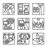 Simple line icons for co-working. Simple black line icons set for coworking. Development concept, teamwork, freelance, workplace, distance job and other elements Royalty Free Stock Photo