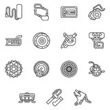 Simple line icons for e-bike parts Royalty Free Stock Photography