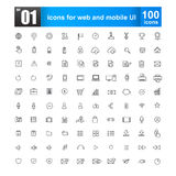 Simple Line Icons For Web Design And Mobile Ui Stock Photos