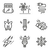 Simple line icons for saving energy concept Stock Photo