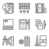 Simple line icons for school subjects Royalty Free Stock Photos