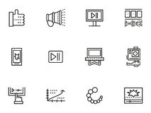 Simple line icons set for v-blog. Symbols and sign for social media objects. Video blog. Simple line icons set.  Web design elements for business Stock Images