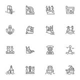 Simple line icons for ships and sea ports Stock Image