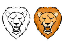 Simple line illustration of lion head Stock Photography