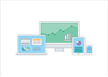 Simple line illustration of a modern business conc royalty free illustration
