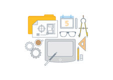 Simple line illustration of a modern business concept set Royalty Free Stock Image
