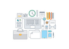 Simple line illustration of a modern business conc. Ept set Royalty Free Stock Photos