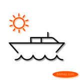 Simple  line illustration of a small water boat jumping over the sea and the orange sun at sunrise, a flat linear icon Stock Photo