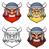 Simple line illustrations of an angry viking warri Royalty Free Stock Photography