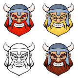 Simple line illustrations of an angry viking warrior Stock Images